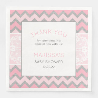 Rustic Pink Girl Baby Shower Napkin Paper Napkins