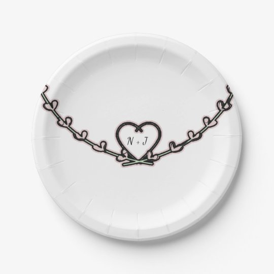 Rustic Pink Heart Vine Bridal Shower Custom Party 7 Inch Paper Plate