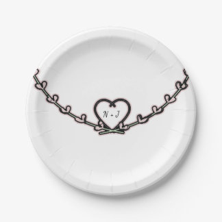 Rustic Pink Heart Vine Bridal Shower Custom Party Paper Plate