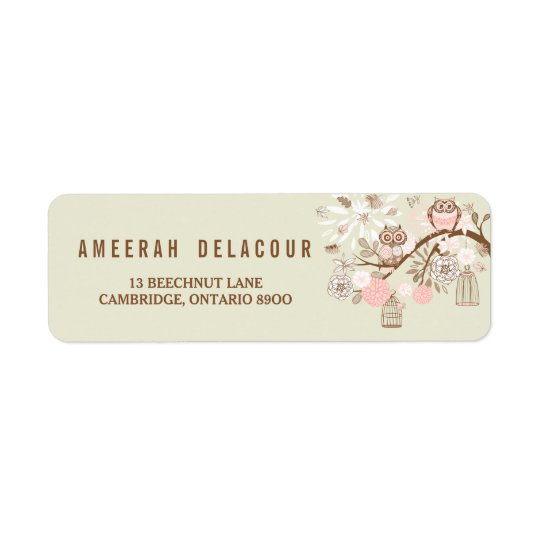 Rustic Pink Owls and Birdcages Address Label