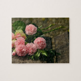 Rustic Pink Peonies Still Life Jigsaw Puzzle