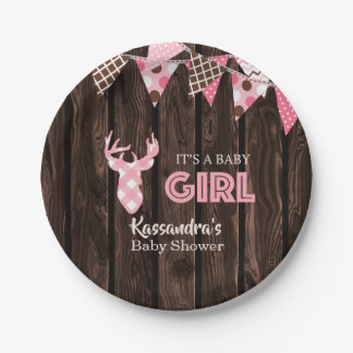 Rustic Pink Plaid Deer Baby Shower Paper Plates