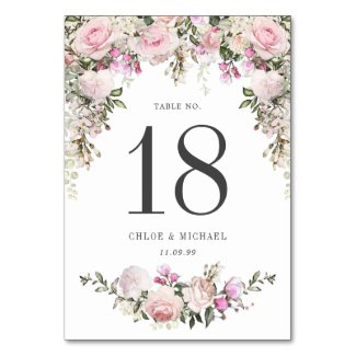 Rustic Pink Rose Floral Wedding Table Number