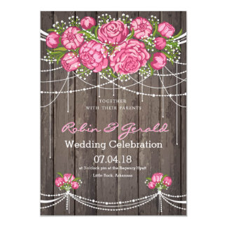 Rustic Pink Rose Wedding Invitations