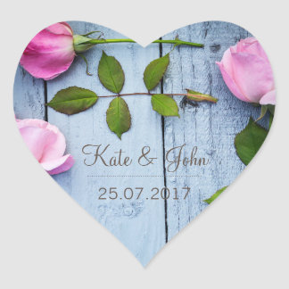 Rustic Pink Roses, personalized wedding sticker