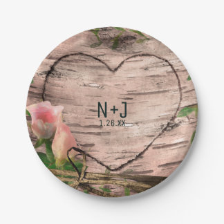 Rustic Pink Roses & Vines White Birch Reception 7 Inch Paper Plate