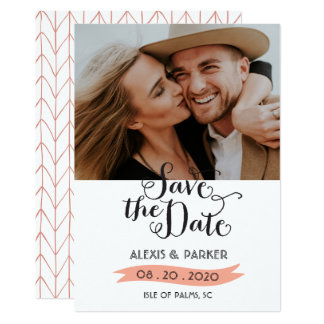 Rustic Pink Save The Date Wedding Photo Card