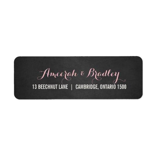 Rustic Pink Script Wedding Address Label