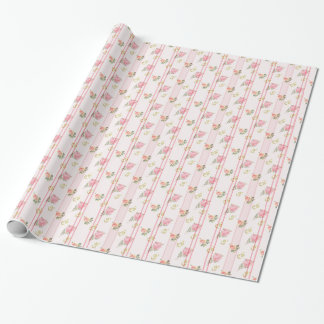 Rustic Pink Striped Floral Pattern Wrapping Paper