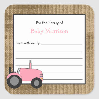 Rustic pink tractor baby shower bookplate square sticker