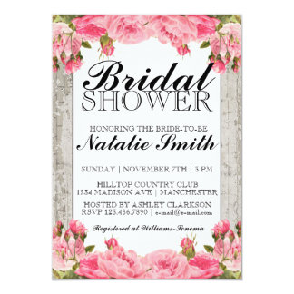 Rustic Pink Vintage Peonies | Bridal Shower Invite