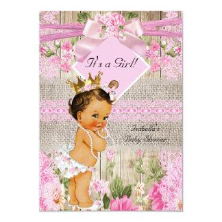 Rustic Pink Wood Burlap Girl Baby Shower Brunette Card