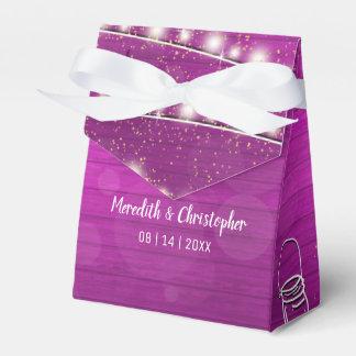 Rustic Pink Wood String Lights Mason Jar Wedding Favor Box