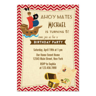 Rustic Pirate Ship Birthday Invitation Red