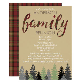 Rustic Plaid and Pine Country Family Reunion Card