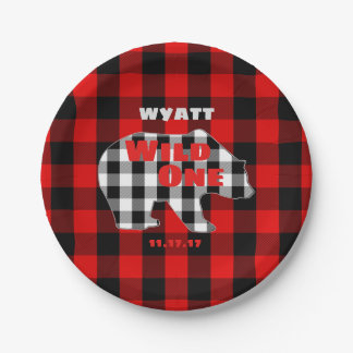 Rustic Plaid First Birthday Party Wild One Bear Paper Plate