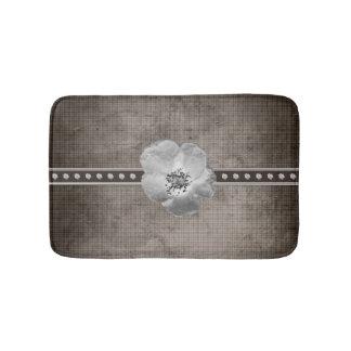 Rustic Plaid Flower Bath Mat
