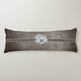 Rustic Plaid Flower Body Pillow