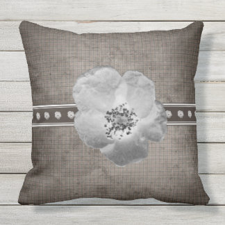 Rustic Plaid Flower Outdoor Throw Pillow