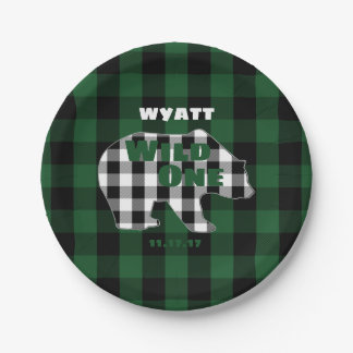 Rustic Plaid Green Wild One Birthday Party Bear Paper Plate