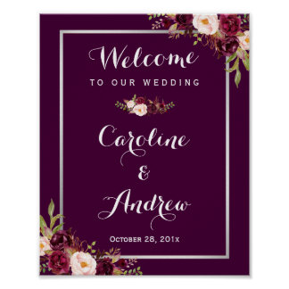 Rustic Plum Purple Floral Welcome Wedding Sign