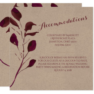 Rustic Plum | Wedding Accommodations Card