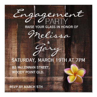Rustic plumeria / frangipani engagement party card