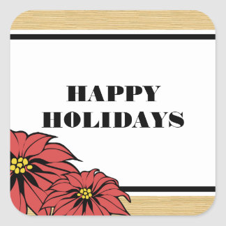 Rustic Poinsettia Holiday Square Sticker