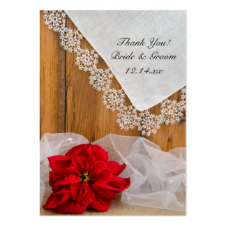 Rustic Poinsettia Lace Winter Wedding Favor Tags Large Business Card