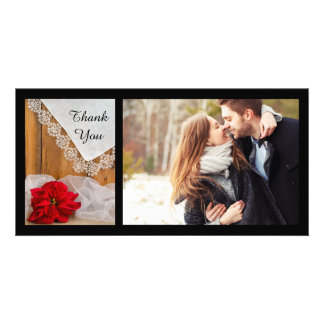 Rustic Poinsettia Lace Winter Wedding Thank You Card