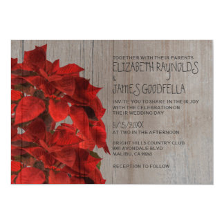 Rustic Poinsettias Wedding Invitations