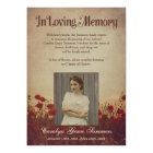 Rustic Poppy Field In Loving Memory Custom Photo Card