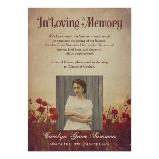 Rustic Poppy Field In Loving Memory Custom Photo Card