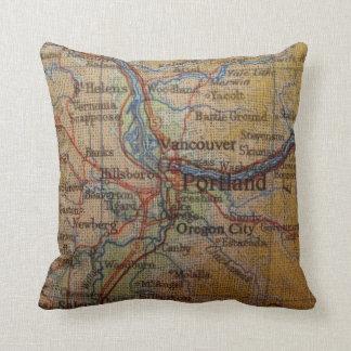 Rustic Portland Oregon Map Throw Pillow