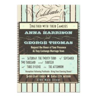 Rustic Poster: Blue & Cocoa Custom Wedding Card