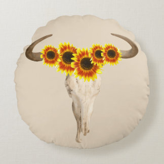 Rustic Prairie Cow Skull & Sunflowers Round Pillow