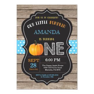 Rustic Pumpkin First Birthday Invitation Blue