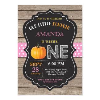Rustic Pumpkin First Birthday Invitation Pink