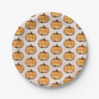 Rustic pumpkin pattern paper plate