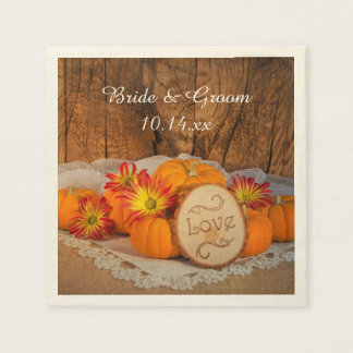 Rustic Pumpkins Fall Wedding Napkins Paper Napkins