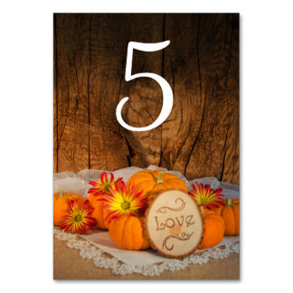 Rustic Pumpkins Fall Wedding Table Numbers Table Card