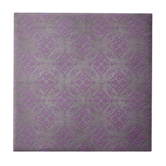 Rustic Purple and Steel Grey Damask Tile
