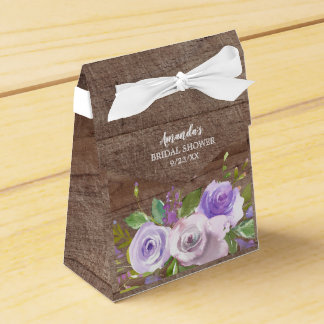 Rustic Purple Flowers Bridal  Shower Favor Box