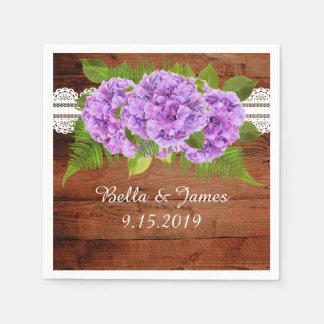Rustic Purple Hydrangea Wedding Collection Napkins Disposable Napkin