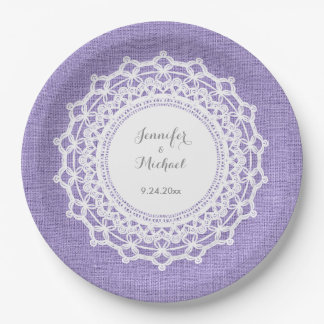 Rustic Purple Linen Look and White Lace Wedding 9 Inch Paper Plate