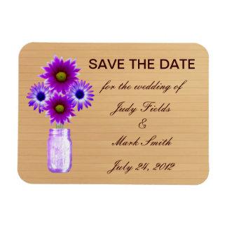 Rustic Purple Mason Jar Save The Date Magnet