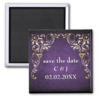 rustic purple regal save the date magnets magnet