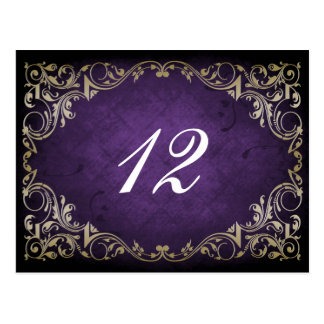 rustic purple regal wedding table seating card post cards