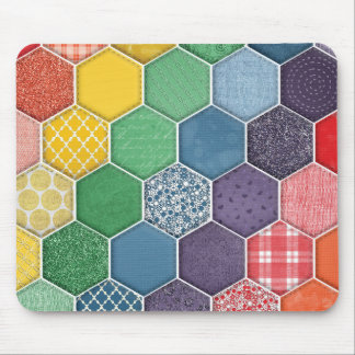 Rustic Quilt Pattern Tile Green, Blue Mouse Pad