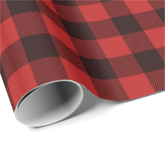 Rustic Red and Black Buffalo Christmas Pattern Wrapping Paper